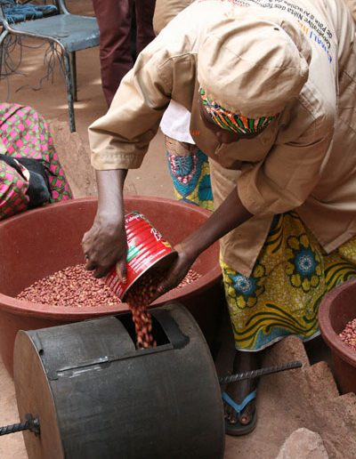 Placing Peanuts in the Roaster
